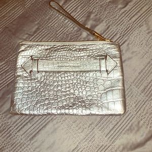 Sliver Croc Print Leather Clutch
